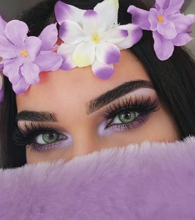 girl, green eyes and violet