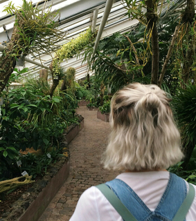 short hair, blonde and plants