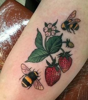 bee, drawing and strawberry