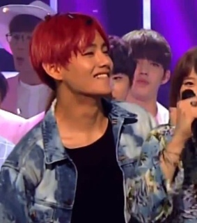 jawline, army and taehyung red headed