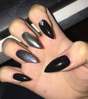 black stiletto nails, nails and black