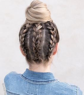 braid, bun and hair