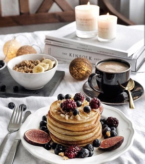 candles, pancake and coffee