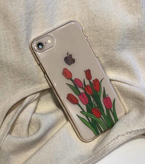 phone case, tulips and red
