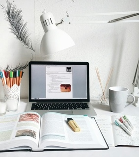 desk, books and notes