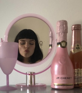 makeup, champagne and crystal