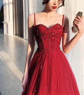 prom dresses 2019, tulle and beading