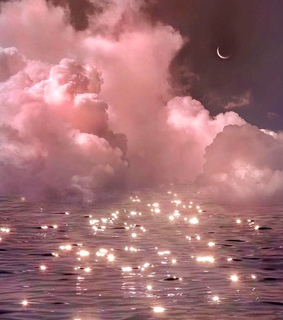 sparkling water, sky and moon