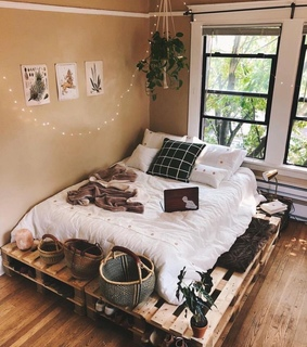 apartment, open and bed