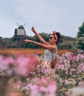 pose, flower field and pink