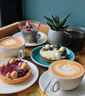 latte, fruit and cherry