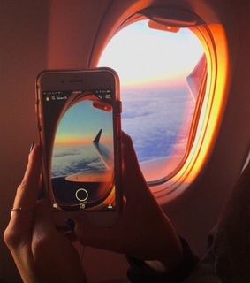 plane, sunset and aesthetic