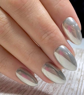 silver, nails and manicure