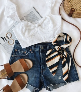 shorts, sandals and top