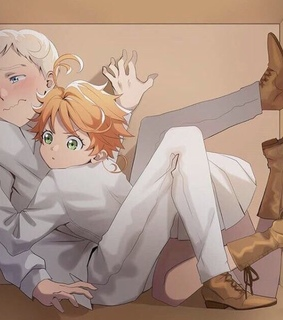 the promised neverland, emma and anime boy