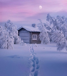 snow, cabin and winter