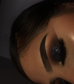 makeup, brows and glitter