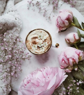 coffee, spring flowers and flowers