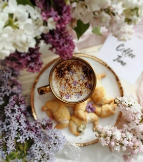 spring day, flowers and cup of coffee