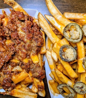 chilli, food and fries
