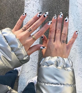 black and white, rings and cow print