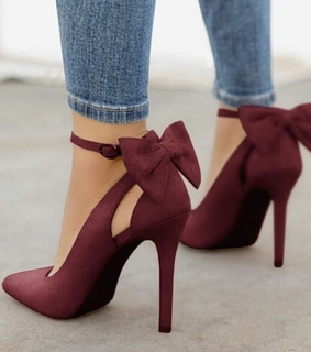 bordeaux, bow and high heels