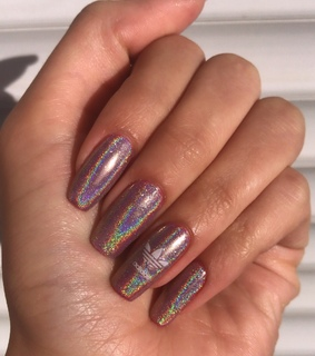 nails, holographic nails and cute