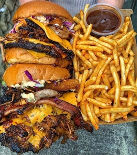 French Fries, burger and cheddar