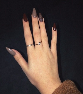 nails, almond nails and brown nails