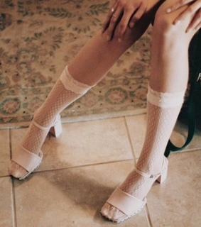 white high heels, platforms and knee highs