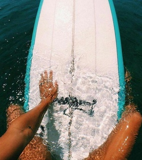 girl, surfboard and surfing