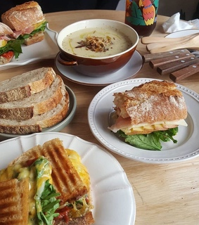 sandwich, soup and food