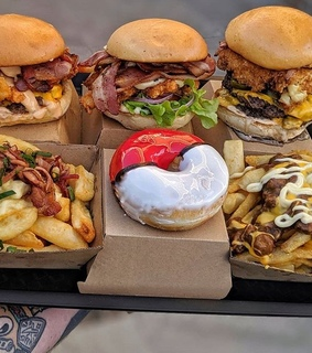 French Fries, beef and burger