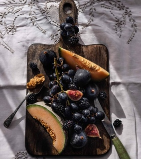 food, platter and blackberries