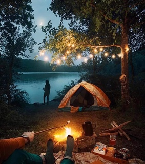 camp, fire and fishing