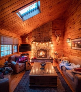 cabin, blankets and lights