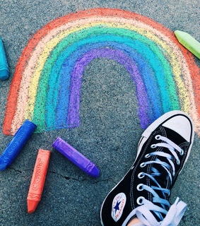converse, rainbow and chalk