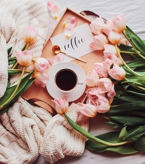 spring day, coffee time and flowers