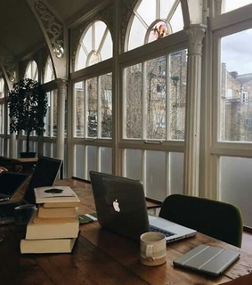 workplace, office and laptop