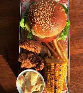 Chicken, burger and corn