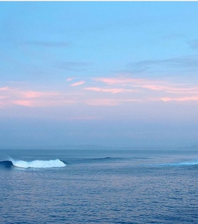 pink, surf and waves