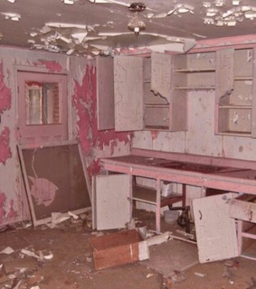 kitchen, pink and ruined