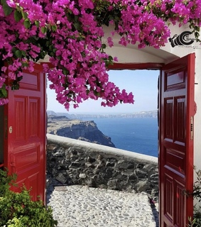 Greece, blooming and cityscape