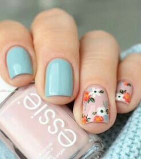 light blue, natural nails and essie