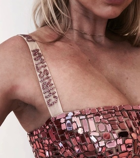 dress, glitter and rose gold