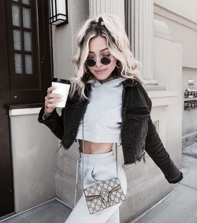 blonde, coffee and crop top