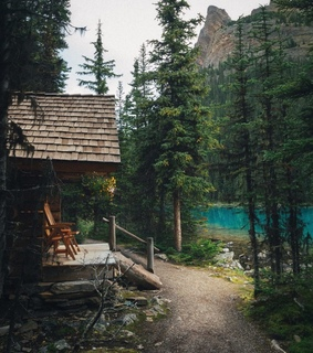 forest, cabin and mountains