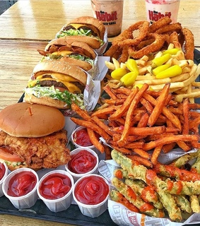 Chicken, French Fries and burger