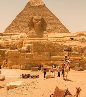 camels, ruins and sphinx