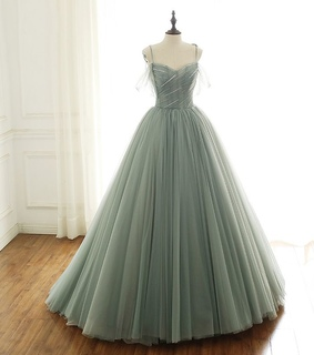 prom dress, tulle dress and sage green prom dress